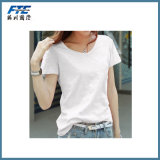 Women′s Fashion Printed Cotton T-Shirt with Round Neck