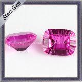 High Quality Rose Red Rectangle Shape Cushion CZ Gemstone