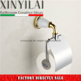 Gold White Paint Chrome Toilet Paper Holder with Brass Cover