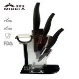 5PCS Mirror Blade Ceramic Knife Set with Block