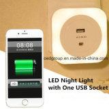 Square LED Night Light with One USB Socket