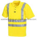 Custom Safety Yellow Polo Shirt High Reflective Tape (ELTHVJ-84)
