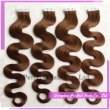 High Quality Brown Color Body Wave Tape in Hair Extensions