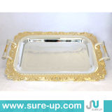Arabic Style Stainless Steel Dish Tray Tea Serving Tray (OSUH)