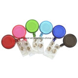 Round Shape Retractable Pull Badge Reel with Epoxy Logo