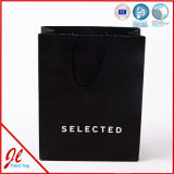 Factory Outlet Hot Sale Holiday Black Paper Bag with Logo Hot Stamping