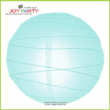 Light Blue Irregular Ribbed Paper Lantern