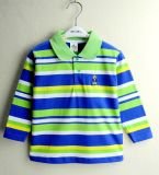 Kids Long Sleeve Polo Shirts Yarn Dye Fabric