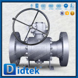 """Didtek Forged Trunnion Reduced Bore 6*4"""" Metal Seated Ball Valve with Worm Gear"""
