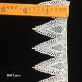 8.5cm White Gathered Trimming Lace with Triangle Leaf Circle Hmw6165