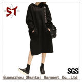 OEM Lady Personality Loose Hooded Sweater Dress with Pocket in Front