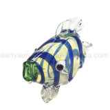 Blue Striped Tropical Fish Glass Hand Pipe (ES-HP-127)