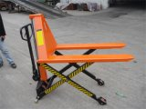 High Lift Scissor Pallet Truck with Double Piston