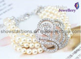 Nature Color Pearl with Diamond Multi-Layer Bracelet (XBL12004)