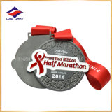 2016 Fashion Red Ribbon Half Marathon Medal Embossed Running Medal