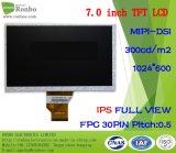 "7.0"" IPS 1024*600 Mipi 30pin 280CD/M2 Full View TFT LCD Module"