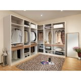 L-Shaped Wood Grain Walk-in Closet Wooden Bedroom Wardrobe