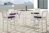 White Decorative Pattern PE Rattan Furniture with Low Back Chairs