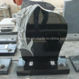 Black Granite Lily Carving Tombstone