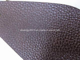 Brown Color Lychee Pattern Microfiber Leather for Sofa