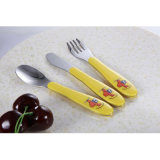Plastic Handle with Four Color Cute Baby Cutlery Set