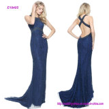 China Manufacture Wholesale Crystal Beaded Column Gown with a Low Back Eveing Dress