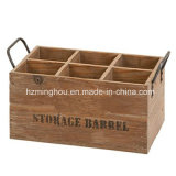 Storage Rack Wooden Barrel 6 Bottle Wine Bottle Rack