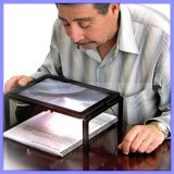 Lightweight 3X Magnification Fold-Down Legs Neck Cord Hands-Free Page Magnifier for Reading with LED Lights (1127)