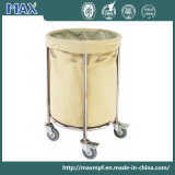 Round Beige Stainless Steel Cleaning Service Laundry Linen Maid Trolley