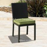 Rattan Chair/Armless Chair with Green Cushion/Black Armless Chair/Wicker Furniture
