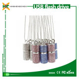 Cylindrical Crystal USB Flash Drive with USB Necklace