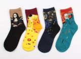 Women′s Cotton Crew Socks with Oil Painting Like (WA037)