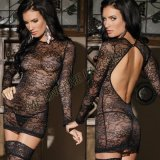 New Model Long Sleeve Bridal Open Back Lace Transparent Lingerie