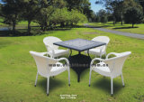 Patio Garden Aluminum PE Rattan Dining Chairs and Table