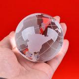 Crystal Glass Globe Ball with Map Sandblasting