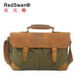 Washed Canvas Fabric Genuine Leather Business Man Briefcase (RS-2000)