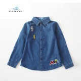 Simple Comfortable Boys′ Short Sleeve Denim Shirt with Embroidery by Fly Jeans
