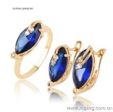 Luxury Women Latest Model Fashion Jewelry CZ Gemestone Jewelry Set with Ring, Earring -63657