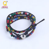 Multilayer Colorful Leather Chain Natural Stone Beads Bracelet Bangle