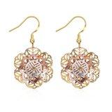 18k Gold Women Earrings Flower Hollow Women Eardrop Gold Color Jewelry