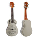 BV/SGS Certificate Supplier---China Aiersi High Quality F Hole Chrome Plated Copper Body Resonator Ukulele with Hawaii Tree Sandblasted Finish