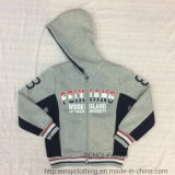 Fashion Grey Zip-up Fleece Boy Coat Clothes with Hood in Kids Clothes Sq-6445