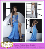 Sexy High Quality a Line Sweetheart Sequins with Crystals Side Slit Floor Length Sweep Train Arabic Evening Dress (LH0002)