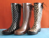 Popular Style Woman Printing Rubber Boots, Cheapness Rubber Rain Boot, Ladies′ Rubber Boot