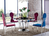2014 High Gloss Modern Marble Tempered Glass on Top Dining Table Stainless Steel Frame