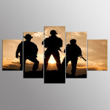 5 Panels American Soldiers Picture Prints on Canvas Wall Art Modern Canvas Painting Framed Giclee for Home Decor