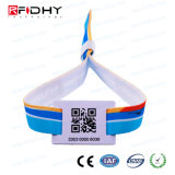 One Time Use Admission PVC RFID Wristband with Fabric Strips