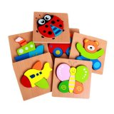 3D Wooden Montessori Cartoon Animal Insect Traffic Fruit Wood Kids Educational Toy Puzzle