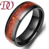 Wood Inlay Hot Seller Ceramic Rings Mens Christmas Gifts