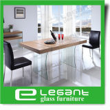 Grey Tempered Glass Dining Table with Stainless Steel Legs